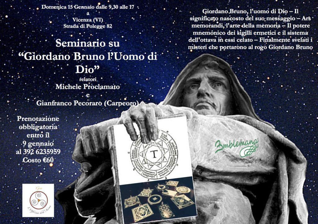 """Seminario """"Giordano Bruno l'Uomo di Dio"""""""